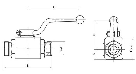 QJH高压球芯截止阀外螺纹连接尺寸