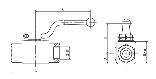 QJH系列高压球芯截止阀内螺纹连接